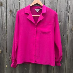 Easy Breezy Bold Magenta Button Down Blouse